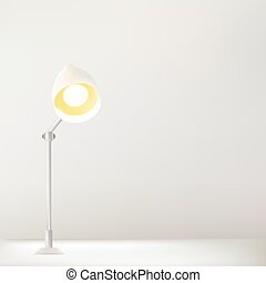 Working Table And Lamp with White Wall