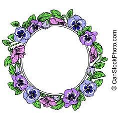 Frame of vintage botanical flowers. Violet, pansy wreath....