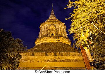Wat lok Molee, Chiang Mai, Thailand - Large chedi at the Wat...