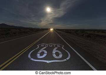 Route 66 Night Moon with Headlights - Route 66 sign with...