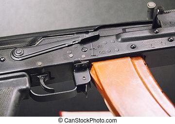 Automatic weapons - kalashnikov assault rifles - close up...