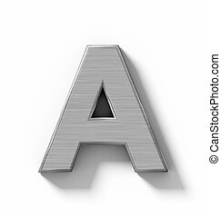 letter A 3D metal isolated on white with shadow - orthogonal projection