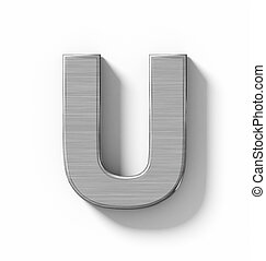 letter U 3D metal isolated on white with shadow - orthogonal projection
