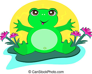 Frog with Peace Lotus Flowers