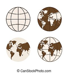 Set of different types of globes. Symbols of global...