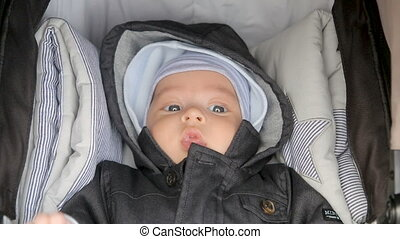 infant lies in a sidecar in a hat and hood