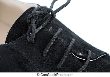 shoe laces in close-up - shoe laces of fashion shoes in...