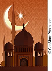 Arab islamic architecture. Mosque moonlit night - Arab...