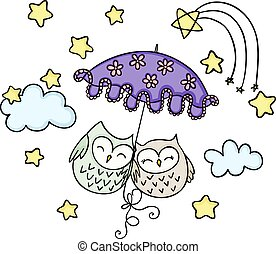 Cute couple owls flying away on an umbrella