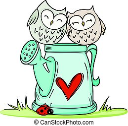 Cute couple owls on love watering can