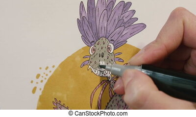 Drawing illustration on watercolor paper using marker