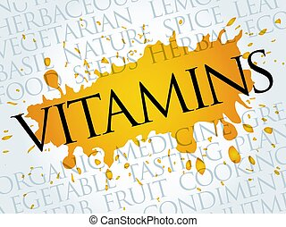 VITAMINS word cloud collage, food concept background