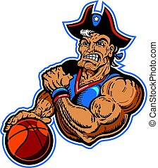 patriots basketball mascot - muscular patriots basketball...