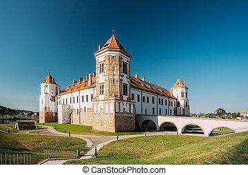 mir, azul, Torres, cielo, Belarus, soleado, Plano de fondo,...