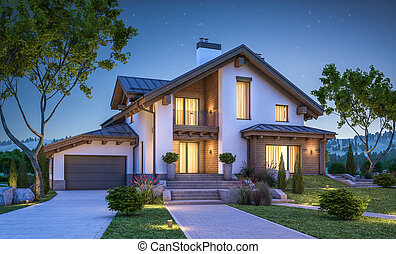 3d rendering of modern cozy house in chalet style with...