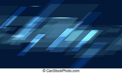 Dark blue tech geometric abstract motion design. Video...