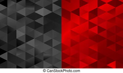 Contrast red black pixelated triangles mosaic video...