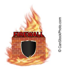 fire wall protection logo with shield and brick wall with fire