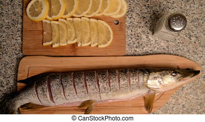 Preparation of fish with lemon in oil. Pike with cuts,...