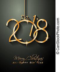 季節的, 挨拶, 背景, 年, 新しい, 幸せ, カード,  2018
