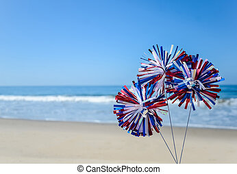 Patriotic USA background on the sandy beach - Patriotic USA...