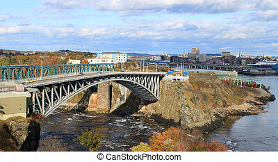 Reversing Falls bridge, Saint John NB - Panoramic view of...