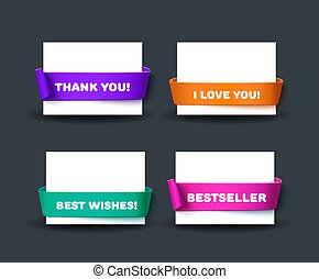 Blank business card template with red ribbon and text Thank...