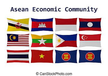 aec, Übertragung, land, Freigestellt,  ASEAN, Fahne, Flaggen,  3D