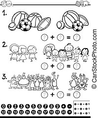 mathematical activity coloring page - Black and White...
