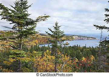 Lake Superior Minnesota viewed from Palisade Head in the...