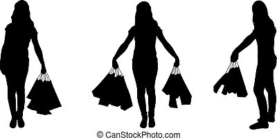 Set of different women with bags