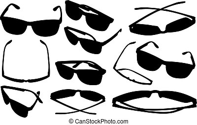 Set of different eyeglasses isolated on white