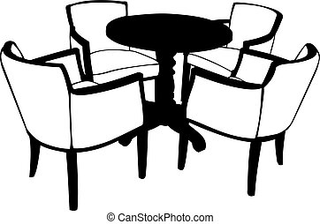 Illustration of table with chairs
