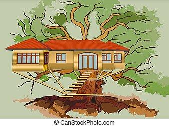 treehouse on branch of green oak