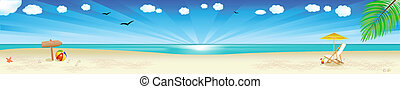 Beach Banner, Tropical Landscape With Beach, Sea And Palm...