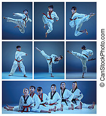 The studio shot of group of kids training karate martial...