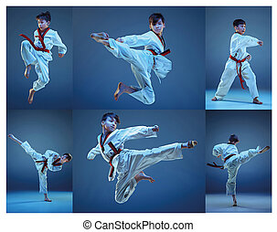 The studio shot of kids training karate martial arts and...