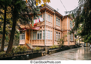 Borjomi, Samtskhe-Javakheti, Georgia. Old Wooden Two-storey...
