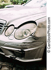 Broken Bumper Luxury Car Scratched With Deep Damage To...