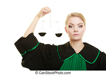 woman barrister holding scales. - Law court concept. Woman...