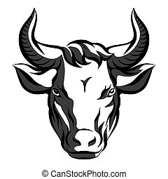 Bull head. Vector emblem on white background
