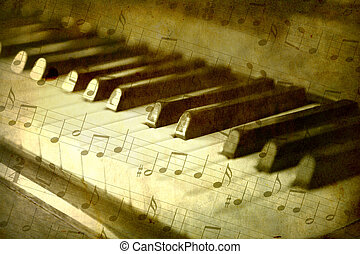 Black and white piano keys, music notes background