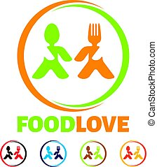 food love logo, chef kitchen logo, eating logo, chef logo,...