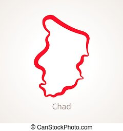 Chad - Outline Map - Outline map of Chad marked with red...