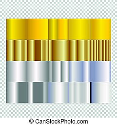 Set of silver and gold gradients on isolated background.