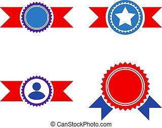 Award Seal With Ribbons Flat Icons