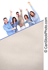 Smiling people with broadsheet - Smiling people group with...