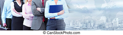 Business team. - Business people group working. Financial...