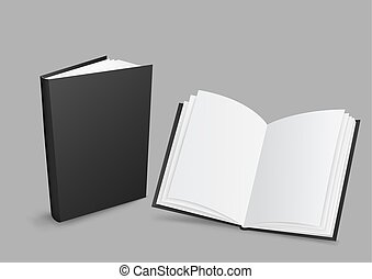 Black closed and open books