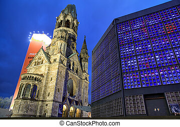 Bombed church in Berlin - Kaiser Wilhelm memorial church in...